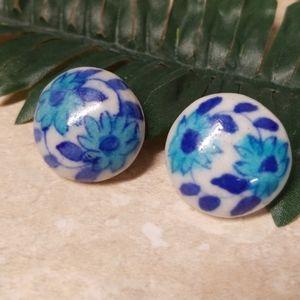 Unique Floral Ceramic Post Back Earrings